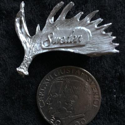 Pins Älghorn sweden handgjuten i tenn med mycket fina detaljer